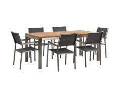 Set da giardino tavolo in teak e 6 sedie grigie GROSSETO