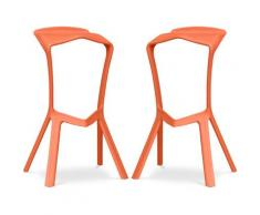 Sgabello Design Marcus - Pack di 2 Arancione chiaro
