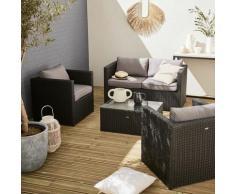 Salotto da giardino, modello: Anzio, in resina intrecciata - Nero/Grigio - Resina nero, cuscini di