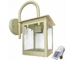 Etc-shop - Chiaramente illuminazione esterna lanterna lampada da parete telecomando vetro set