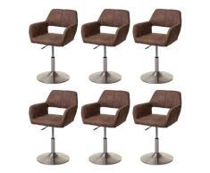 Set 6x sedie sala da pranzo HWC-A50 III design retro metallo satinato tessuto vintage marrone