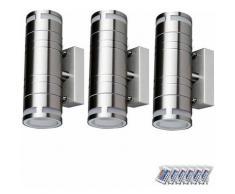 Set di 3 lampade da esterno a LED RGB facciate su giù riflettori dimmerabile luci di controllo