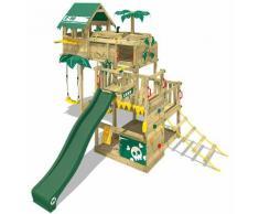 WICKEY Parco giochi in legno Smart Castaway Giochi da giardino con altalena e scivolo verde Casetta