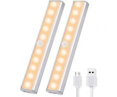 Luci per armadietto 2PCS con luci per armadietto con rilevatore di movimento Armadio wireless a LED