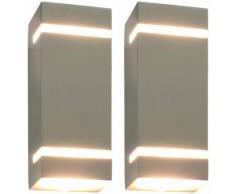 Lampade da Parete da Esterno 2 pz 35 W Argento Rettangolari VD27338 - Hommoo