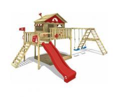 WICKEY Parco giochi in legno Smart Ocean Giochi da giardino con altalena e scivolo rosso Casa su