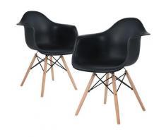 Set di 2 sedie con gambe in legno per sala da pranzo con struttura in metallo nero - Noir