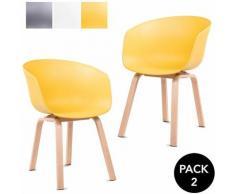 Pack 2 sedie da pranzo senape da sala da pranzo cucina a tulipano design nordico con braccioli
