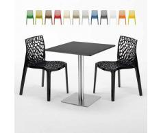 Tavolino Quadrato Nero 70x70 cm con 2 Sedie Colorate GRUVYER RUM RAISIN | Nero
