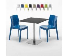Tavolino Quadrato Nero 70x70 cm con 2 Sedie Colorate GRUVYER KIWI | Blu