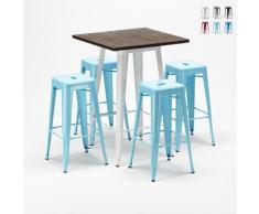 Set tavolo alto e 4 sgabelli in metallo stile Tolix industriale HARLEM per Bar e Pub | Colore:
