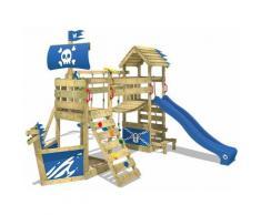 WICKEY Parco giochi in legno GhostFlyer Giochi da giardino con altalena e scivolo blu Casetta da