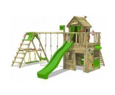 FATMOOSE Parco giochi in legno CrazyCat Giochi da giardino con altalena SurfSwing e scivolo mela