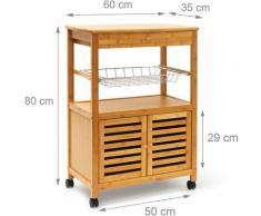 Relaxdays - Carrello Cucina JAMES XL, in Bambù, HBT 80 x 60 x 35 cm, Mobile con Rotelle, Ripiani,