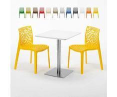 Tavolino Quadrato 60x60 cm Top Bianco con 2 Sedie Colorate GRUVYER HAZELNUT | Giallo