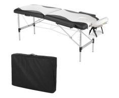 Lettino da massaggio Panca da massaggio in alluminio a 2 zone Divano bianco nero Panca da 12,5 kg