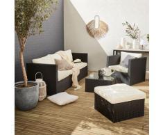 Salotto da giardino, resina intrecciata - modello: Benito, colore: Nero ed Ecru - Colore: Nero,