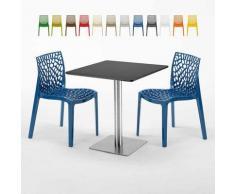 Tavolino Quadrato Nero 70x70 cm con 2 Sedie Colorate GRUVYER RUM RAISIN | Blu