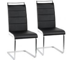 Set 2 Sedie Moderne Sala da Pranzo Cucina Ufficio in Ecopelle e Acciaio Cromato, Nero + Bianco