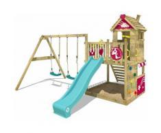 WICKEY Parco giochi in legno Smart Sparkle Giochi da giardino con altalena e scivolo turchese