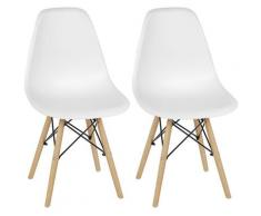 Sedie per sala da pranzo 2 set sedie da ufficio per soggiorno sedia da cucina sedia bianca in PP