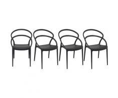 Miliboo - Sedie design impilabili nere da interno / esterno (set di 4) COLIBRI