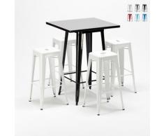 Tavolo alto e 4 sgabelli in metallo stile Tolix industriale NEW YORK bar pub | Colore: Bianco
