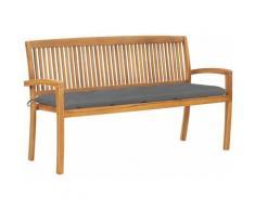 Panchina da Giardino Impilabile e Cuscino 159cm Teak Massello - Vidaxl