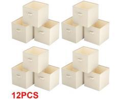 12Pcs GUARDAROBA SCATOLA 37 x 33 x 33 CM, ORGANIZER Cubo Box Salvaspazio Ripiegabile Beige, Fatto