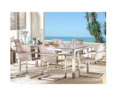 Set tavolo da giardino effetto legno 180 cm e 6 sedie textilene beige GROSSETO