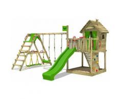 FATMOOSE Parco giochi in legno DonkeyDome Giochi da giardino con altalena SurfSwing e scivolo mela