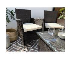 Set di mobili da giardino e terrazza, 4 posti, marrone, rattan sintetico, divano (105x56x88),
