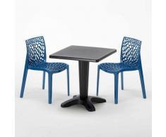 Tavolino Quadrato Nero 70x70 cm con 2 Sedie Colorate GRUVYER AIA | Blu