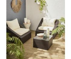 Salotto da giardino in resina intrecciata : 2 posti + 1 tavolino basso   Modello : Triangolo  