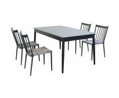 Set Tavolo Da Giardino Allungabile In Alluminio E Polywood 160/240 X 90 Compreso Di 4 Sedie Colore