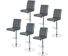 Set di 6 sgabelli da bar di alta qualità, sgabello girevole regolabile, con schienale alto, grigio