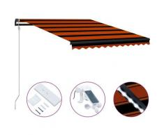 Tenda da Sole Retrattile Sensore LED 350x250 cm Arancio Marrone - Arancione - Vidaxl