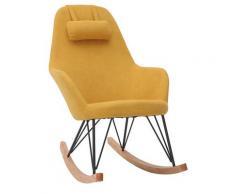 Miliboo - Poltrona - sedia a dondolo in tessuto giallo e piedi in metallo e legno JHENE