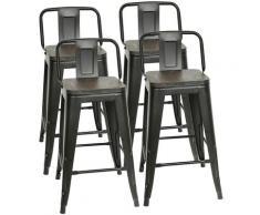 4 x Sedia da Sala da Pranzo in Metallo Ferro con Schienale Stile Vintage, Seggiola da bar Design
