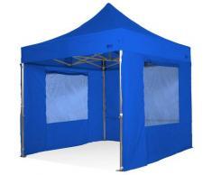 Tenda gazebo pieghevole 3x3 blu tutta in alluminioc on finestre laterali imperemabile.