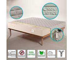 Kit Materasso 100% lattice a 7 zone differenziate con tessuto Silver alto 20 cm + Rete a Doghe