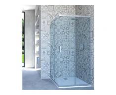 box doccia angolare porta scorrevole 68x118 cm trasparente