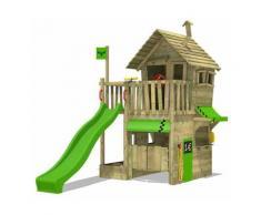 FATMOOSE Parco giochi in legno RebelRacer Giochi da giardino con scivolo mela verde Casetta da