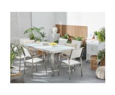 Beliani - Set tavolo e sedie da giardino - In vetro temperato bianco e fibra tessile bianca