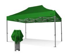 Gazebo pieghevole 3x4,5 verde Exa 55mm alluminio senza laterali PVC 350g