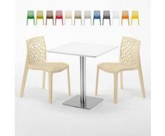 Tavolino Quadrato Bianco 70x70 cm con Base in Acciaio e 2 Sedie Colorate ICE STRAWBERRY | Beige