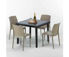 Tavolino Quadrato Nero 90x90 cm con 4 Sedie Colorate BOHÈME PASSION | Beige