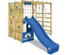 WICKEY Parco giochi in legno Smart Allstar Giochi da giardino con scivolo blu Scala svedese, Barre