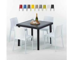 Tavolino Quadrato Nero 90x90 cm con 4 Sedie Colorate ROME PASSION   Bianco