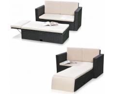 Polyrattan divano da giardino e poggiapiedi pieghevole Lounge poltrona mobili da giardino nero